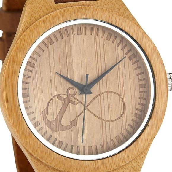 Review Of Wonbee Mens Bamboo Wooden Watch Infinity Anchor Design